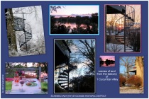 images of and from the second-floor balcony/deck and spiral staircase at 1 Cucumber Alley - Schenectady NY Stockade