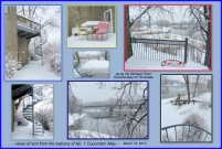 collage of images of and from the balcony at the rear of No. 1 Cucumber Alley along the Moahwk River in the Schenectady NY Stockade - 19Mar2013