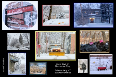 scenes on snowy days on Cucumber Alley in the Schenectady NY Stockade along the Mohawk River