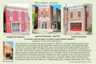 collage showing the sad loss of Schenectady's Fire Station #2 and its homely replacement