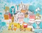 Street scene ala Miro, in oil, byCobelle