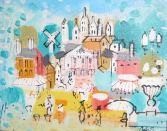 Street scene ala Miro, in oil, by Cobelle
