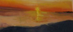 Sunset over water (detail), in oil, by Elizabeth MacFarland, Niskayuna, NY