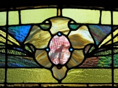 stained glass flower - 16 Washington Ave.