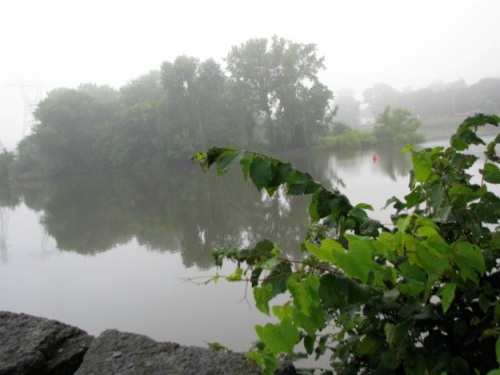 fog lifting over the Isle of the Cayugas, Mohawk River, 7 AM, 10Aug09