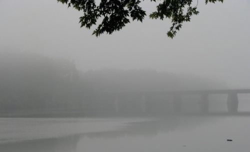 railroad trestle over the Mohawk River, near the Schenectady Stockade, on a foggy morning - 10Aug09trestle
