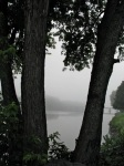 looking eastward over the foggy Mohawk River from Washington Ave. –10Aug09