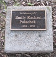 memorial marker for Emily Rachael Polachek - 06Aug09