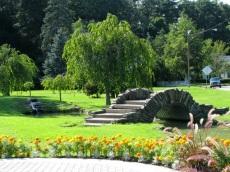 view of the Rose Garden arched bridge - Schenectady Central Park 03Aug09
