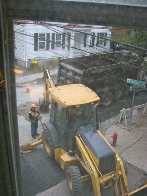 Backhoe At My Window - Cucumber Alley, Schenectady Stockade - 18Sep09
