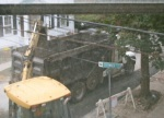 dump truck and backhoe out my window on Cucumber Alley –18Sep09