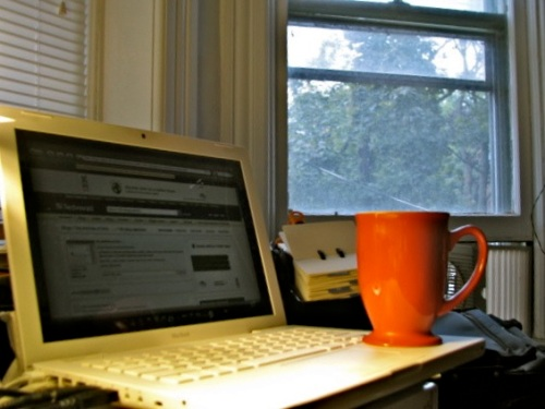my coffee mug & MacBook at couple feet from the window at Cucumber Alley and Washington Ave., Schenectady Stockade - 18Sep09mug