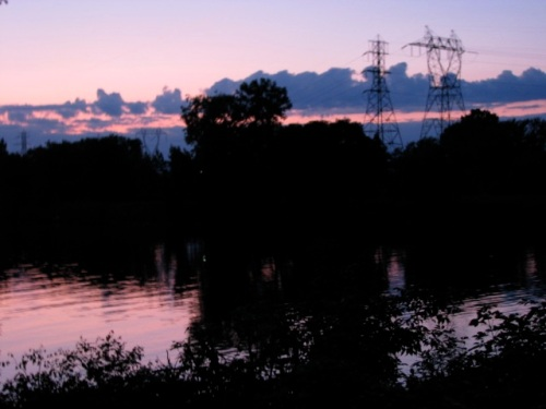 sunset along the Mohawk River as seen from the backyard of 16 Washington Ave, Schenectady. 08Sep09