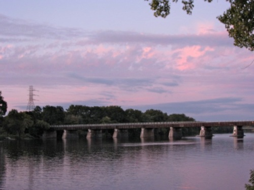 sunset clouds over the CSX rail bridge on the Mohawk River - 14Sep09