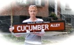 Cucumber Alley Sign held by Beth Petta –10Sep09