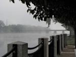CSX rail bridge in the fog as seen from Riverside Park esplanade – 8 AM21Sep09