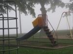 tot lot structures and Mohawk River fog – Riverside Park – 8 AM21Sep09