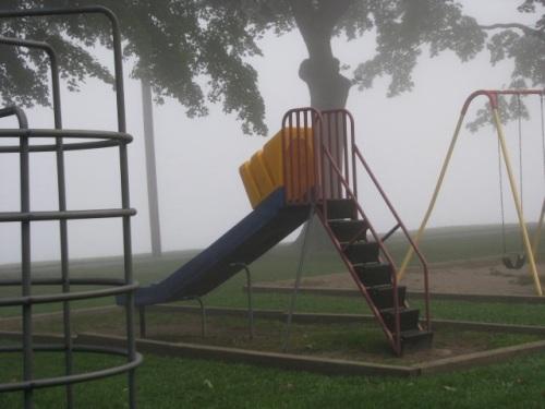 tot lot structures and Mohawk River fog - Riverside Park - 8 AM 21Sep09