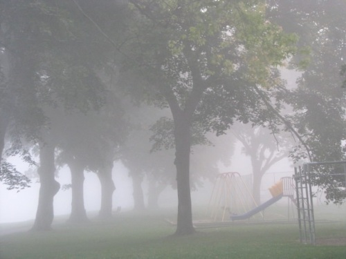 foggy morning - approaching the kiddie playground at Riverside Park, Schenectady Stockade - 7:30 AM 21Sep09