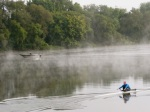 rowing scull and motor boat on the Mohawk River – misty morning along Riverside Park –21Sep09