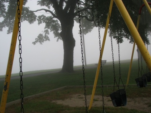 Mohawk Fog through the Riverside Park swingset - 21Sep09