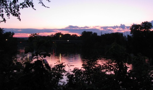 Sunset seen from the end of Cucumber Alley, Schenectady Stockade - 08Sept09