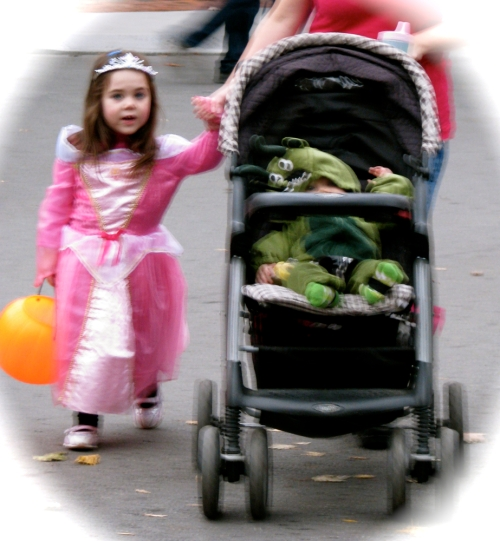 a princess and a frog head to Arthur's Market - Stockade Halloween 2009