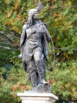 Lawrence the Indian, with changing foliage, Schenectady Stockade – October 10,2009