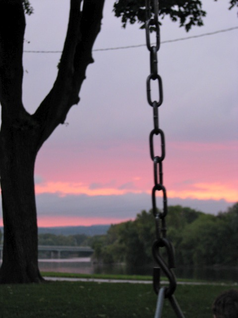 swingset sunset - east end of Riverside Park, Schenectady - 03Oct09chain