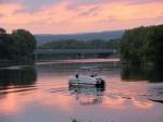 swingset sunset – flatbottom boat approaching Isle of the Cayugas, Mohawk River –03Oct09