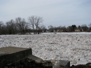 Mohawk River ice jam seen from end of Washington Ave. Schenectady - 08Mar09