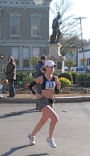 runner #17 passes Lawrence the Indian - Stockade-athon 2009