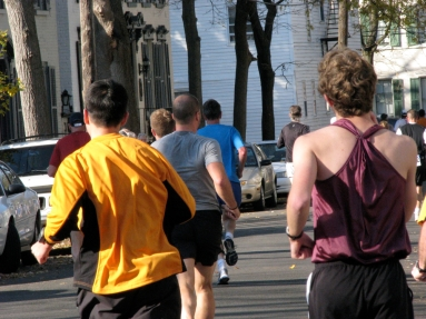 runners heading past N. Church St. on Front St. - Stockade-athon 2009