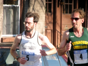 pair of runners (brothers?) just past Polachek Square on Front St. - Stockade-athon 2009