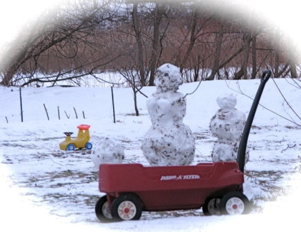 Snow Mommy and Snow Boys with Radio Flyer wagon behind 4 Cucumber Alley, Schenectady - 06Jan10