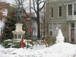 "Lawrence Circle with visiting ""Gnoman"" - Schenectady Stockade - 16 Jan 2010"