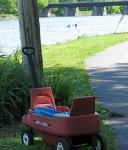 wagon on planting day in Riverside Park with kayakers on the Mohawk near the end of Governor's Lane –15May2010