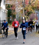 contestants # 39, 1101 (Stockade resident Dale Miller), 1061, 822 and others running west of Governor's Lane on Front St. heading toward Washington Ave. in the Schenectady Stockade - Stockade-athon 2010 - 07Nov2010