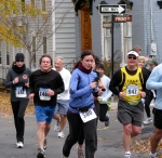 Runners #500 and 947 and others turn the corner from Front St. to Washington Ave. heading south in the Schenectady Stockade - Stockade-athon 2010 - 07Nov2010