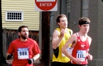 Runners #988, #1162 [Alex Paley of Albany, who finished the race in 10th place] & #1227 entering the Lawrence Circle - Stockade-athon 2010 - 07Nov2010