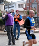 Runner #1276 passes race officials leaving the Lawrence Circle - Stockade-athon 2010 - 07Nov2010