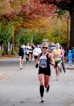Runner 658 [Roxanne Wegman of West Point, who finished 8th in the Women's Division] leads a large group of entrants past the Lawrence Circle in the Schenectady Stockade - Stockade-athon 2010 - 07Nov2010