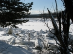scene of ice jams along the Mohawk looking west from the rear of 16 Washington Ave. - Schenectady NY - 4PM 7Mar2011