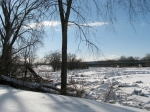 scene of ice jams along the Mohawk looking west from the rear of 16 Washington Ave. in the Schenectady Stockade - 4PM 7Mar2011