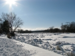 scene of ice jam along the Mohawk looking west from Riverside Park near Governor's Lane - Schenectady NY - 4PM 7Mar2011