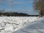 scene of ice jam along the Mohawk looking east from Riverside Park near Governor's Lane - Schenectady NY - 4PM 7Mar2011
