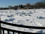 scene of ice jams along the Mohawk looking west from the esplanade of Riverside Park - Schenectady NY - 4PM 7Mar2011