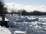 scene of ice jams along the Mohawk looking west near the esplanade of Riverside Park - Schenectady NY - 4PM 7Mar2011