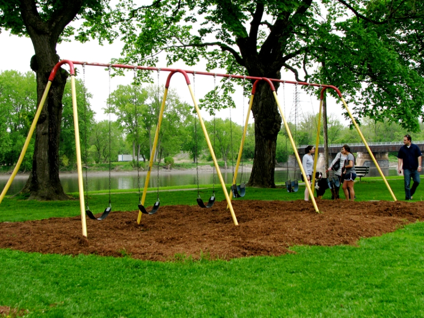 Swingset At Riverside Park Along The Mohawk With New Mulch Ground
