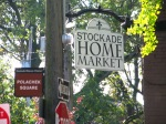 the new Stockade Home Market sign shares the corner with the Polachek Square marker - 35 N. Ferry St. in the Schenecady NY Stockade - 20Oct2011
